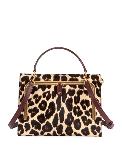 Postbox Leopard Top-Handle Bag with Pull-Down Catch