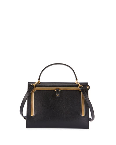 Postbox Grain Leather Top Handle Bag