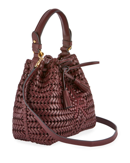 The Neeson Mini Drawstring Bucket Bag, Burgundy