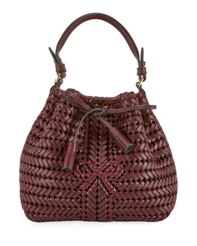 The Neeson Mini Drawstring Bucket Bag  Burgundy
