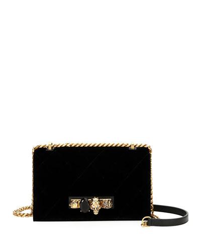 Jeweled Velvet Satchel Bag