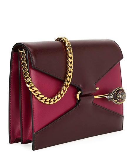 Calf Leather Pin Satchel Shoulder Bag