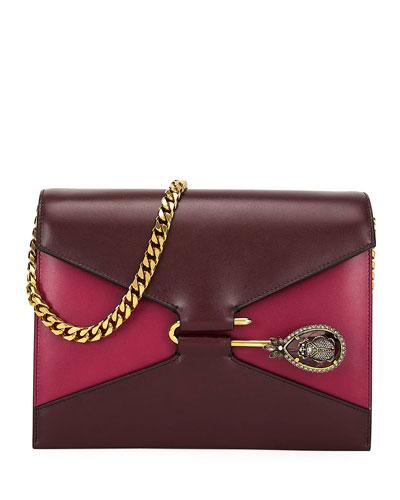 Calf Leather Pin Satchel Shoulder Bag