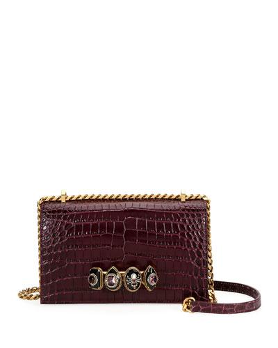 Jeweled Stamped Satchel Bag
