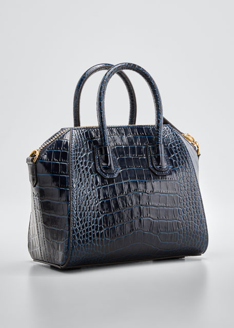 Antigona Mini Croc-Embossed Satchel Bag