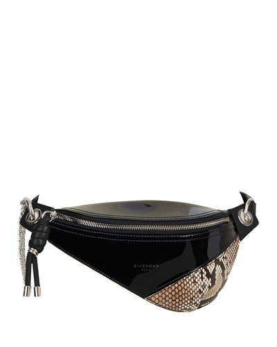 Whip Mini Patent and Snakeskin Belt Bag