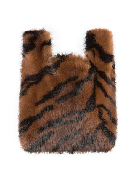 Furrissima Baby Tiger-Stripe Mink Fur Tote Bag