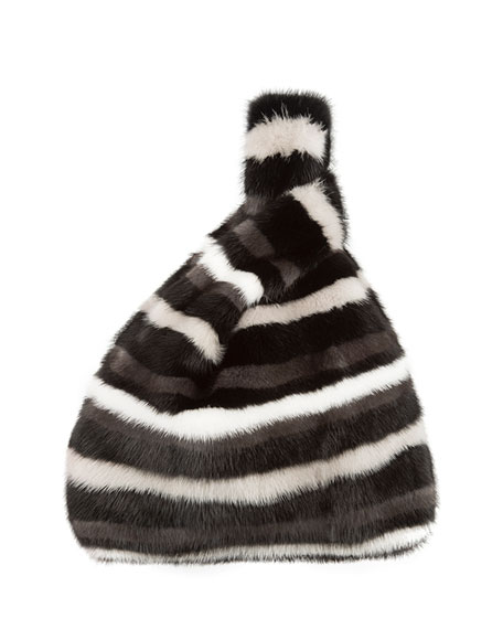 Furrissima Mink Fur Block Striped Tote Bag