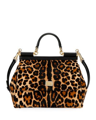 Sicily Large Leopard Top-Handle Bag