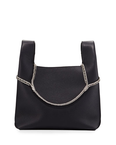 Pebbled Leather Chain Bag  Navy