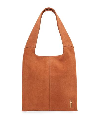 Medium Grand Suede Shopper Tote Bag  Orange