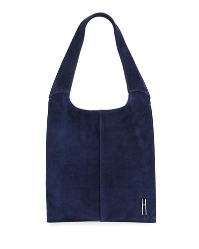 Medium Grand Suede Shopper Tote Bag  Navy
