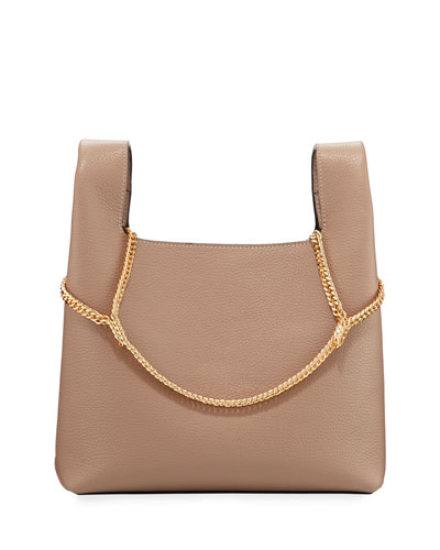 Pebbled Leather Chain Bag  Beige