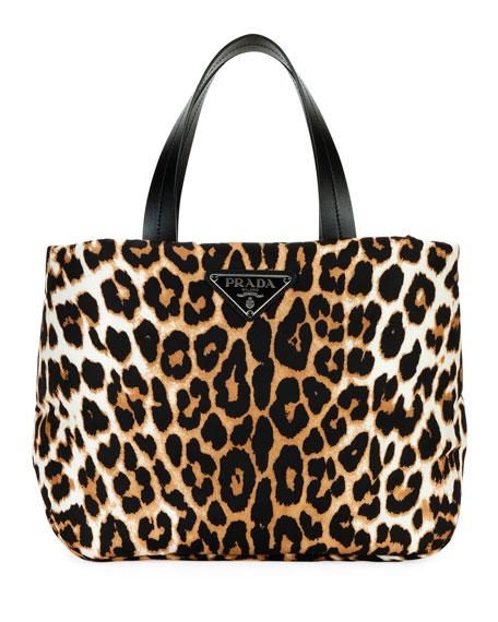 Leopard-Print Nylon Small Tote Bag