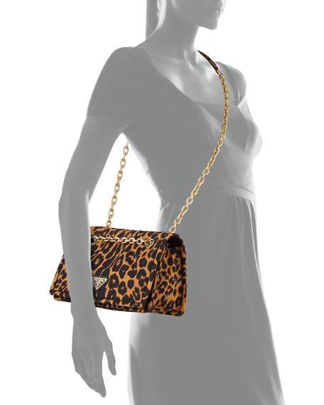 Leopard-Print Nylon Shoulder Bag