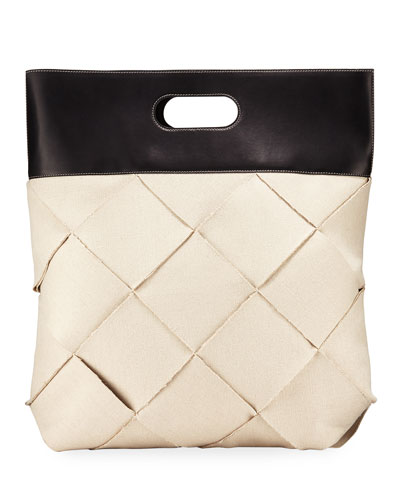 Intrecciato Wide Woven Linen Top-Handle Bag