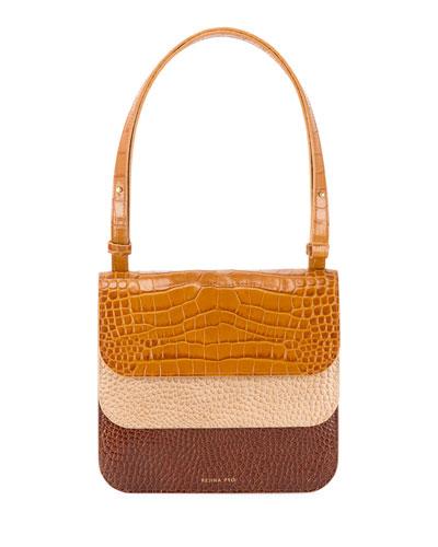 Ana Croc-Embossed Multi-Flap Shoulder Bag