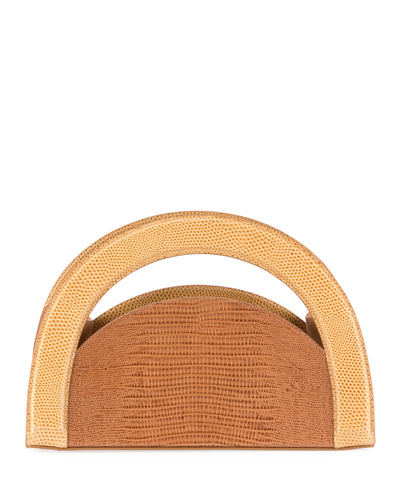 Arc Colorblock Lizard-Embossed Clutch Bag