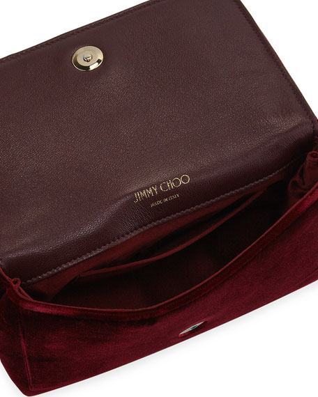 Thea Velvet Pearl Jewel Crossbody Bag, Wine