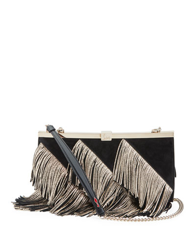 Palmette Fringed Suede Clutch Bag
