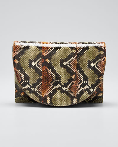 Small Snakeskin Flap Shoulder Bag