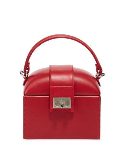Leather Lunchbox Top Handle Bag  Red