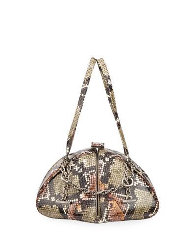 Snakeskin Soft Frame Top Handle Bag