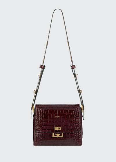 Eden Medium Croc-Embossed Shoulder Bag