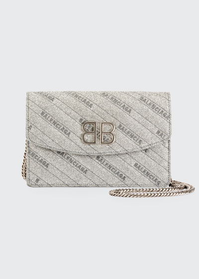 BB Glittered Leather Wallet On Chain