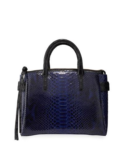 Cristie Medium Python and Crocodile Top Handle Bag