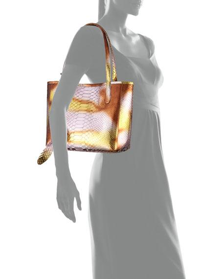 ed79545b984 Erica Small Metallic Python Tote Bag