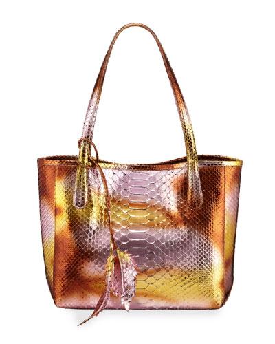 Erica Small Metallic Python Tote Bag