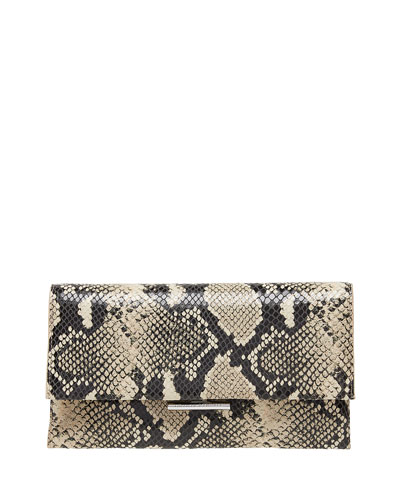 Tab Snake-Print Leather Clutch Bag