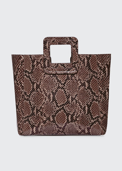 Shirley Snake-Embossed Tote Bag