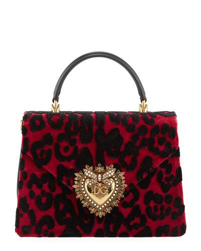 Welcome Velvet Leopard Top Handle Bag