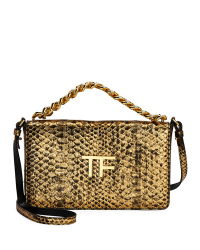 Large Laminated Python TF Shoulder Bag