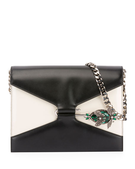 Image 1 of 1: Two-Tone Pin Shoulder Bag