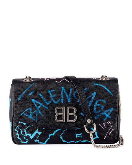 BB Graffiti Leather Wallet on Chain