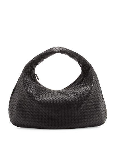 Veneta Intrecciato Large Hobo Bag  Black