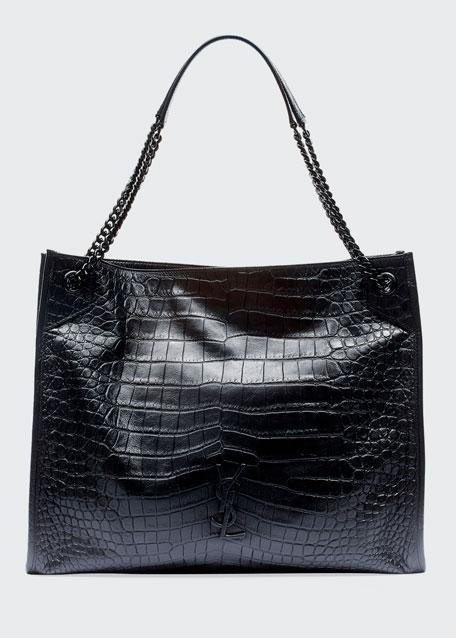 85d9bfed37c Saint Laurent Niki Crocodile-Embossed Shoulder Bag