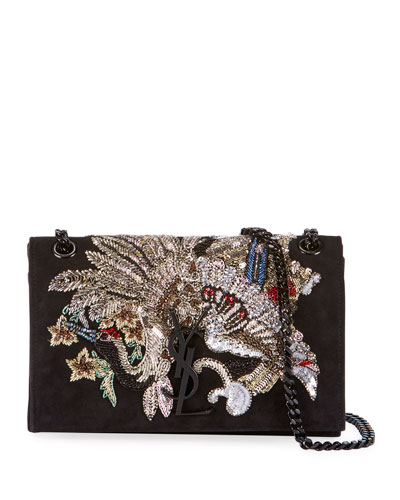 Kate Small Monogram YSL Suede Crossbody Bag with Beaded Peacock