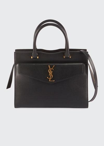 Uptown Medium YSL Leather Satchel Bag