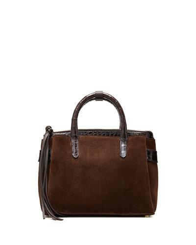 Cristie Small Suede and Croco Tote Bag