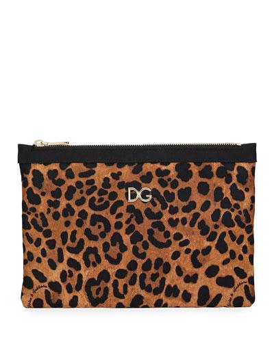 Leopard-Print Nylon Clutch Bag