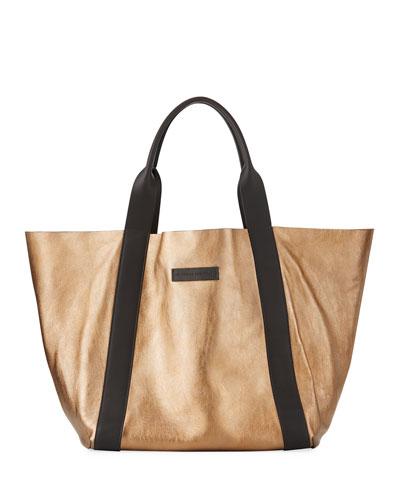 Reversible Metallic Tote Bag  Gold