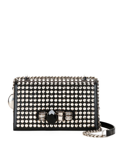 Mechanical Studded Leather Shoulder Bag with Jewels