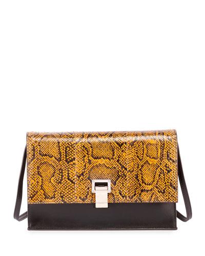 Leather and Snakeskin Lunch Shoulder Bag