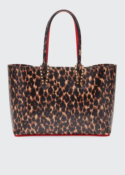Cabata Small Calf Paris Leopard Red Sole Tote Bag