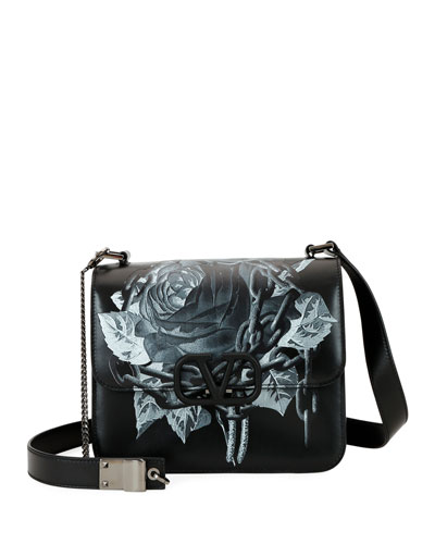 VSling Rose-Print Shoulder Bag