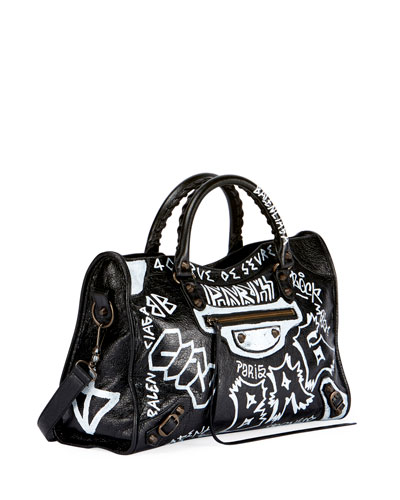 1515da053e0 Classic City AJ Graffiti-Print Satchel Bag Quick Look. Balenciaga